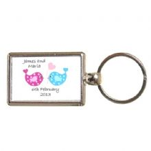 Double-Sided Love Birds Keyring - Personalised Valentines, Wedding, Anniversary Gift